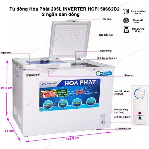 Tủ đông Hòa Phát Inverter HCFI 506S2Đ2