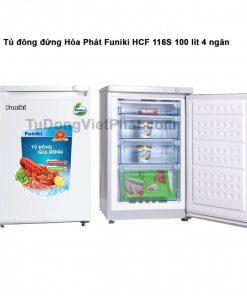 Tủ đông đứng Hòa Phát Funiki HCF 116S 100 lít 4 ngăn (trắng)