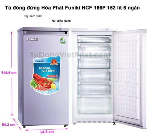 Tủ đông đứng Hòa Phát Funiki HCF 166P 152 lít 6 ngăn (xanh ghi)