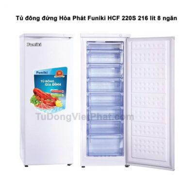 Tủ đông đứng Hòa Phát Funiki HCF 220S 216L 8 ngăn (trắng)